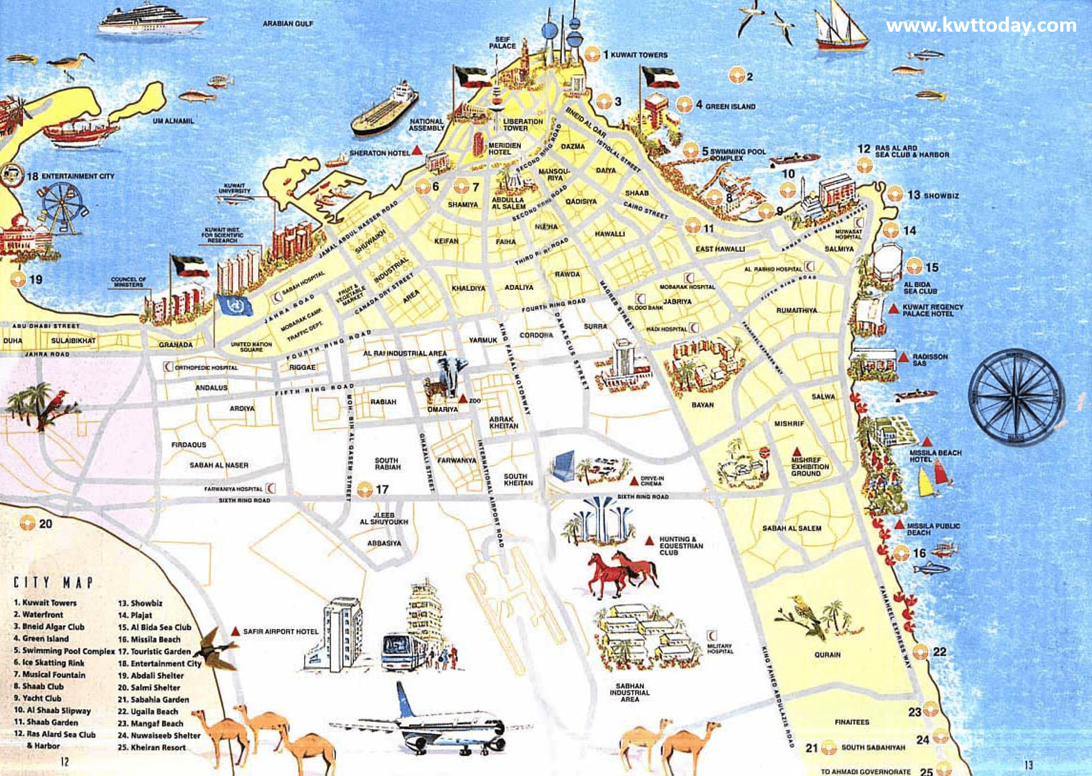 Detailed tourist map of Al Kuwait - Kwt Today