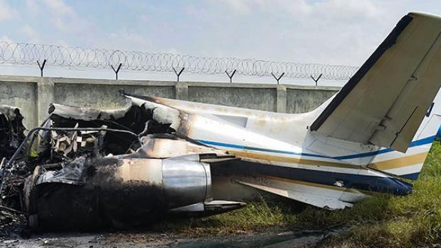 In aligarh, a private airplane collides no casualties reported