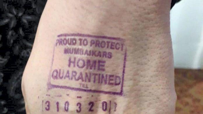 India is stamping hands of passengers under coronavirus quarantine