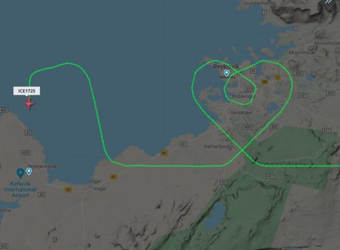 Pilot draws heart shape in sky in Iceland to thank medical workers